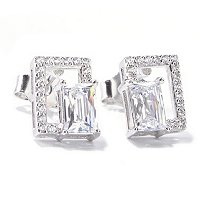 TYCOON SS/PLAT RECTANGULAR TYCOON CUT GEOMETRIC STUD EARRINGS