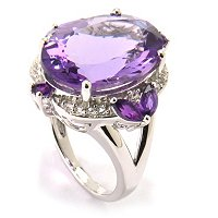 SS OVAL 18X13MM AMETHYST RING