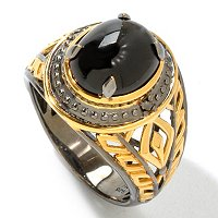 MEN'S - SS/PALL/18KGP & BLK RHOD RING BLACK STAR DIOPSIDE & BLK DIA