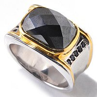 MEN'S - SS/PALL RING 16-STONE EXOTIC GEM