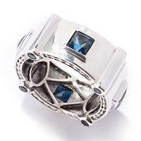 MEN'S - SS/PALL & WHT RHOD RING LONDON BLUE TOPAZ ETERNITY BAND