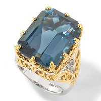 SS/PALL/18KGP RING RADIANT-CUT LONDON BLUE TOPAZ & WHT SAPH