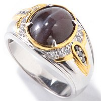MEN'S - SS/PALL/18KGP RING CAT'S EYE SCAPOLITE w/ WHT SAPH & BLK DIA