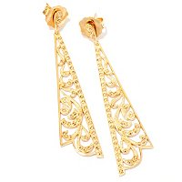 SS YELLOW RHOD PLATED MARCASITE ELONGATED TRIANGLE EARRINGS