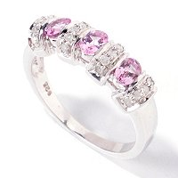 SS 3 STONE PURPLE SPINEL BAND RING