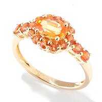 14K YG SPESSARTITE AND ORANGE SAPPHIRE RING