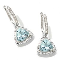 14K TRILLION AQUA AND ZIRCON DROP EARRING