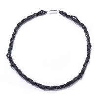 SS MAGNETIC CLASP 3 ROW BLACK SPINEL BEAD NECK 18""