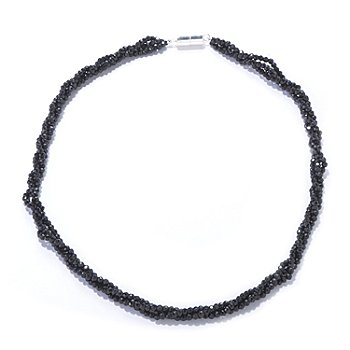 120-931 - Gem Treasures Sterling Silver 18'' or 24'' Black Spinel Three-Row Necklace w/ Magnetic Clasp