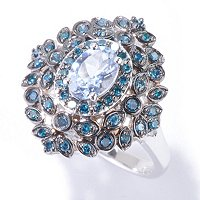 14K WG OVAL BLUE MORGANITE AND BLUE DIAMOND RING