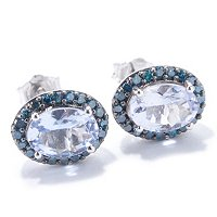 14 WG OVAL BLUE MORGANITE WITH BLUE DIAMOND EARRING STUDS