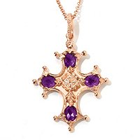 SS/ ROSE VERM RENAISSANCE CROSS W/ CHAIN