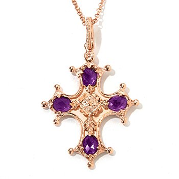 120-938 - Dallas Prince Designs 5.24ctw Amethyst Cross Enhancer Pendant w/ 20'' Chain