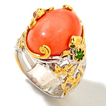 120-940 - Gems en Vogue II Multi Gemstone Turtle & Dragonfly Ring