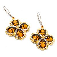 SS/PALL/18KGP EAR CARVED AMBER INTAGLIO CLOVER DROP