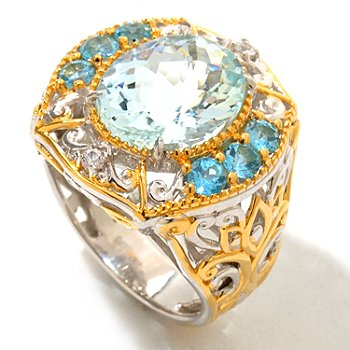 120-945 - Gems en Vogue II 5.18ctw Aquamarine, Swiss Blue Topaz & White Sapphire Ring