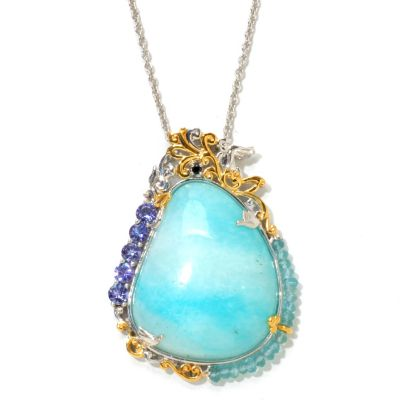 120-947 - Gems en Vogue II 30 x 20mm Hemimorphite & Multi Gemstone Pendant w/ Chain