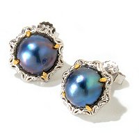 SS/PALL/18KGP EAR 9.0-10.0MM MABE CULTURED PEARL STUD