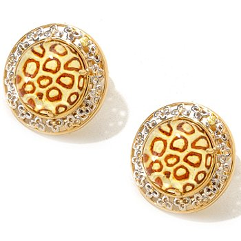 120-956 - Gems en Vogue II 12mm Carved Amber Intaglio & Yellow Sapphire Stud Earrings