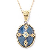 "SS/PALL/18KGP PEND MULTI-GEMSTONE & CROSS w/ 18"" CHAIN"