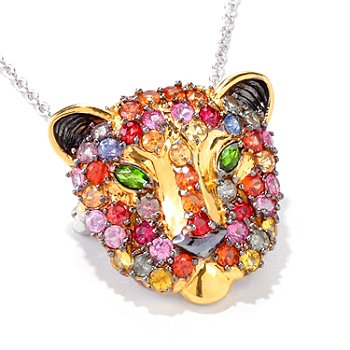 120-959 - Gems en Vogue II 4.06ctw Multi Sapphire & Chrome Diopside Panther Pendant/Pin