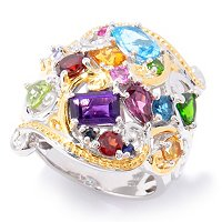 SS/PALL/18KGP RING FACETED MULTI-GEMSTONE
