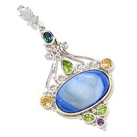 SS OVAL ELECTRIC BLUE DRUSY AND GEMSTONE PENDANT