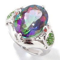 SS/P RING MYSTIC TOPAZ w/ CHROME DIOP TURTLES