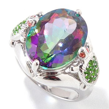 120-981 - NYC II 9.32ctw Exotic Topaz & Multi Gemstone Turtle Ring