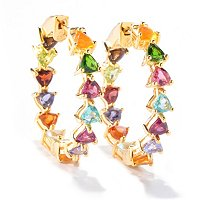 SS/P EAR TRILLION GEM KALEIDOSCOPE INSIDE-OUT HOOP w/ CLICKER BACK
