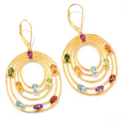 "120-988 - NYC II 2"" 4.62ctw Multi Gemstone Tiered Oval Drop Earrings"