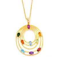 "SS/P PEND MULTI GEM TIERED OVAL w/ 18"" CHAIN"
