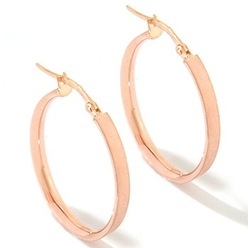 120-992 - SempreGold™ 14K Oval Satin Finished Hoop Earrings