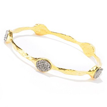 121-030 - Toscana Italiana Gold Embraced™ 8 x 10mm Drusy Station Martellato Slip-On Bangle Bracelet