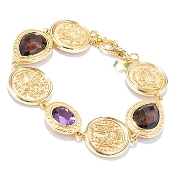 121-035 - Toscana Italiana Gold Embraced™ 8.25'' Amethyst & Smoky Quartz Coin Link Bracelet