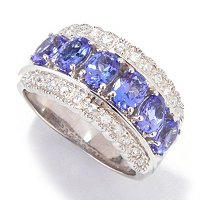 SS/P RING TANZANITE & WHT ZIRCON BAND