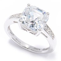 BELITA SS/PLAT ASCHER CUT RING WITH ROUND CUT SHANK