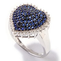 SS PAVE HEART BLUE SAPPHIRE AND DIAMOND RING