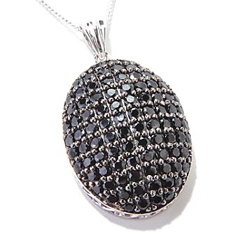121-108 - Gem Treasures Sterling Silver 4.54ctw Black Spinel Pendant w/ 18'' Chain