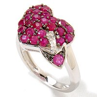 SS/P & BLK RHOD RING PAVE RUBY HEART & ARROW