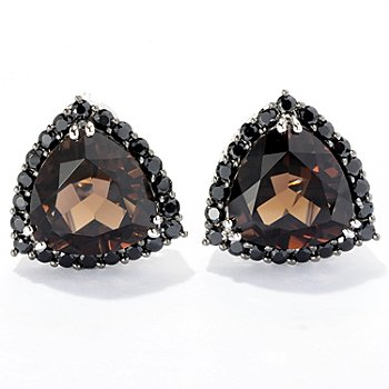 121-130 - NYC II Quartz Trillion & Black Spinel Stud Earrings