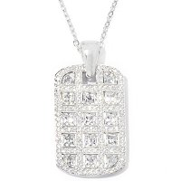 "Square Tycoon Cut Tag Pendant with 18"" Chain"