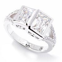 TYCOON SS/PLAT DOUBLE BEZEL SET RECTANGULAR TYCOON CUT RING