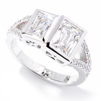 121-149 - TYCOON for Brilliante® Platinum Embraced™ 1.98 DEW Double Bezel Rectangular Ring