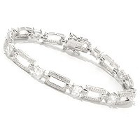 TYCOON SS/PLAT SQUARE CUT AND ROUND LINK BRACELET
