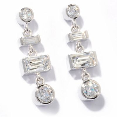 121-166 - TYCOON for Brilliante® Platinum Embraced™ 2.18 DEW Round & Rectangle Dangle Earrings