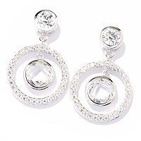 TYCOON SS/PLAT BEZEL SET ROUND CUT TYCOON HALO DANGLE EARRING