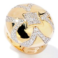 SB SS/GOLD PAVE AND POLISHED ROUND FLOWER RING