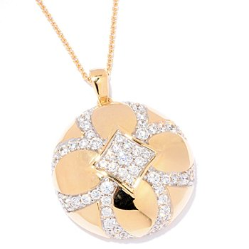 121-191 - Sonia Bitton for Brilliante® Gold Embraced™ 3.17 DEW Round Flower Pendant