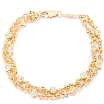 121-195 - Sonia Bitton for Brilliante® 3.30 DEW Round Cut Bezel Double Strand Station Bracelet